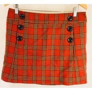 Gap Skirt Women's School Girl Tartan Plaid Orange